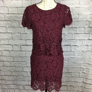 Lulu's Burgundy Lace 2 Piece Outfit Size S
